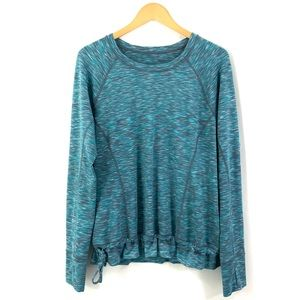 LUCY Long Sleeve Athletic Top Turquoise Gray K35